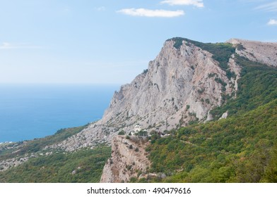 Landscape view of Voskresenskaya church build in 1892 on Red Rock cliff, Foros, Crimea