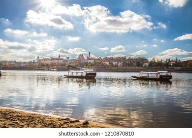 Landscape view of Warsaw, Poland and the Vistula river on a sunny day