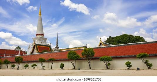 Landscape view of Wat Phra Mahathat  in Nakhon Si Thammarat, Thailand