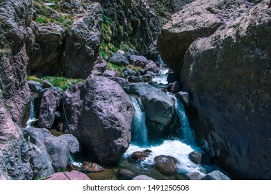 Landscape view of the waterfall in the Toubkal National Park. Atlas Mountains, Morocco