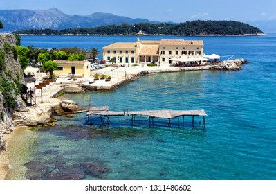 Landscape view of the waterfront in Corfu, Greece.