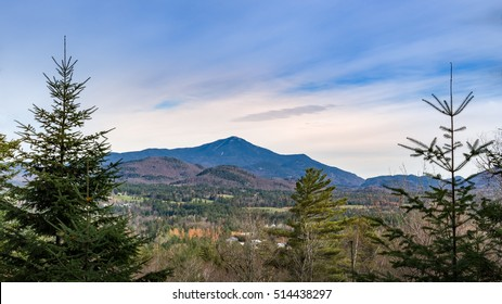 Landscape view of Whiteface Mountain as seen from a hiking trail in the Adirondacks, Lake Placid, New York