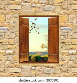 Landschaftsbild aus Fenster