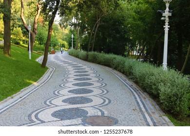 Landscape view of Yildiz Park in Besiktas, Istanbul, Turkey.