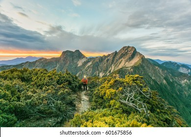 Landscape View of Yushan Main Peak from the North Peak of Jade Mountain at Twilight Before Sunrise,  Yushan National  Park, Chiayi , Taiwan