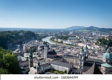 Landscape viewfrom salzburg castle summer