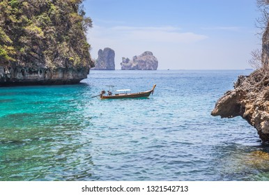 Landscape viewpoint of loh samah bay turquoise blue lagoon is snorkeling point at phi phi island, krabi Thailand