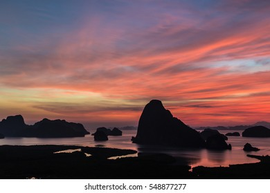 Landscape Viewpoint Phang Nga Bay,Thailand,Silhouette Phang nga bay lanscape in the early morning before sunrise.
