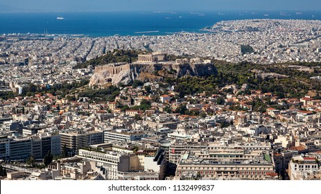 landscape views taken from the Acropolis and Parthenon Athens Greece