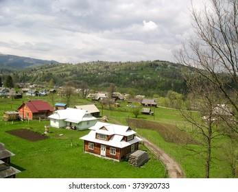 Landscape of the village in the Carpathian Mountains, Ukraine.