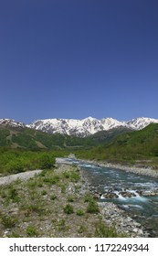Landscape of the village of Hakuba and Sirouma moutains in nagano prefecture japan
