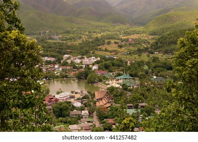 The landscape and the village of  Mae Hong Son in the north provinz of Mae Hong Son in the north of Thailand in Southeastasia.