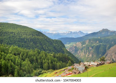 Landscape of the village on the hill mountains view in natural outdoor summer background