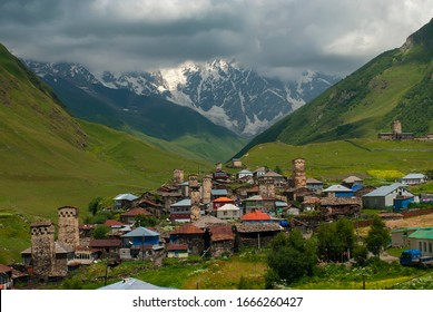 Landscape with village Ushguli in Upper Svaneti, Georgia. Defensive towers and stone houses