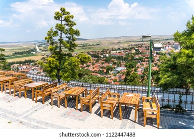 Landscape village view of Seyit Gazi in Eskisehir city from famous islamic complex in hill.