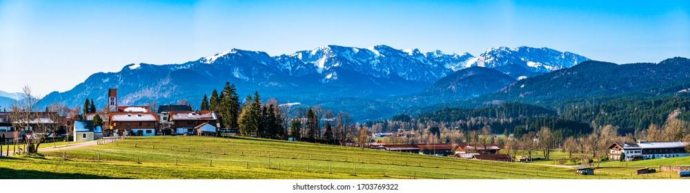 landscape and village wackersberg near bad toelz - bavaria