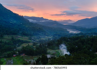 landscape villages and lakes in the highlands of Sri Lanka