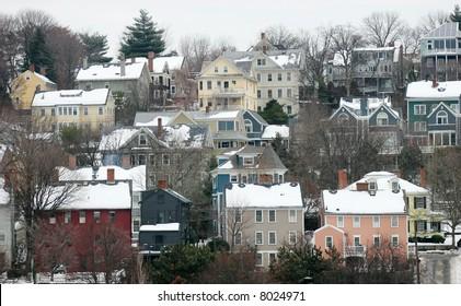 landscape of vintage homes on hillside