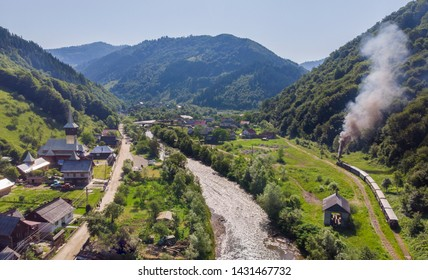 Landscape from Viseu de Sus, old steam train from Romania