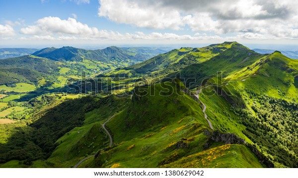 Landscape of volcanic mountains (view from Puy Mary, Massif Central, France)