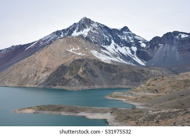 Landscape of volcano and lagoon in Chile