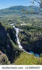 Landscape of the Voringsfossen waterfall (Bjoreio river). National park Hardangervidda, EidFjord, Norway.