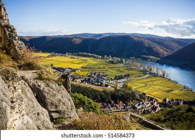 Landscape of Wachau valley, Danube river, Austria.
