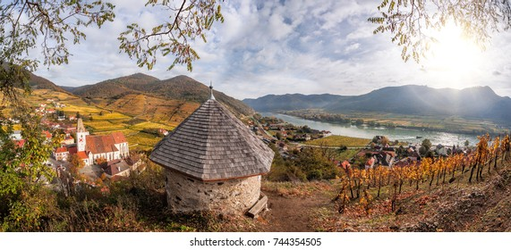 Landscape of Wachau valley, Spitz village with Danube river in Austria.