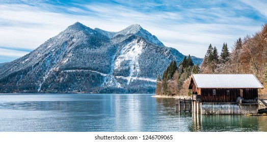 landscape at the walchensee lake in bavaria