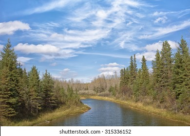 Landscape of Waskasoo pond, Red Deer, Alberta.