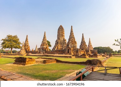 Landscape of  Wat Chai Watthanaram Temple in Buddhist temple Is a temple built in ancient times at Ayutthaya near Bangkok. Thailand