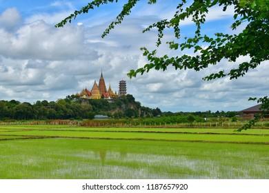 Landscape of Wat Tham Sua Thai temple in Kanchanaburi, Thailand. Wat Tham Sua temple is a rice field around.