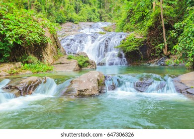 Landscape waterfall in tropical forests. Khao Soidao waterfal wildlife sanctuary, Chanthaburi at Thailand.