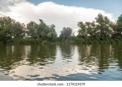 Landscape with waterline, reeds and vegetation,  water reflections, clouds, at sunset, in Danube Delta,  Romania