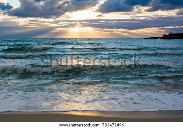 Landscape Of Wave Sea At Sunset On Cloudy Sky Background