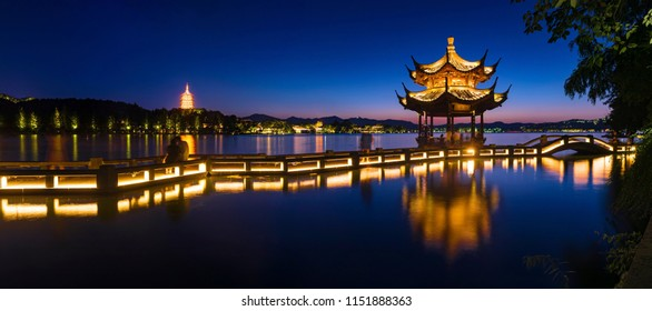 "Landscape of West Lake(xihu)Hangzhou. Long Bridge and Leifeng Pagoda.the chinese word in photo means""Xiyingting pavilion"". Located in Hangzhou City, Zhejiang Province, China."