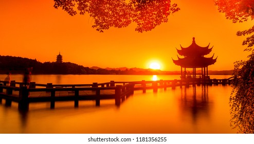 "Landscape of West Lake(xihu)Hangzhou. Long Bridge and Leifeng Pagoda.the chinese word in photo means""Xiyingting pavilion"". Located in Hangzhou City, Zhejiang Province, China"