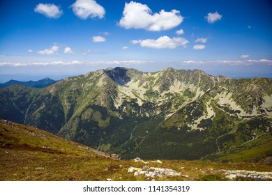 Landscape of western tartra. Panorama from the peak of Baraniec, mountains in Slovakia. Hiking Trails of the Slovak Tatras.