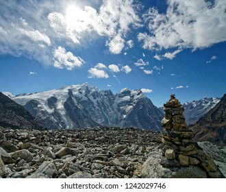 Landscape while climbing at the Mera peak in the area Khare
