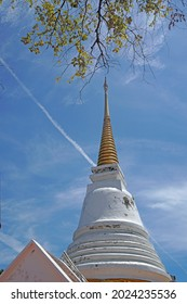 Landscape White pagoda on Khao Tung Kuan Hilltop at Tung Kuan mountian Songkhla Thailand - Travel famous landmark destination to check in