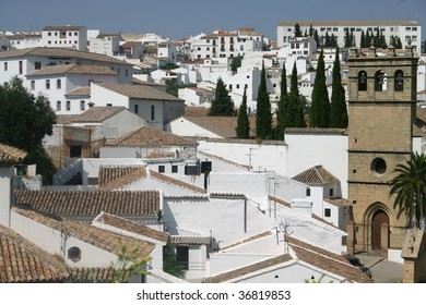 landscape of the white town Ronda in Spain