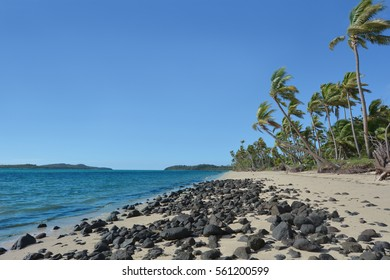 Landscape of a wild beach on a remote tropical island in the Yasawa Islands group, Fiji