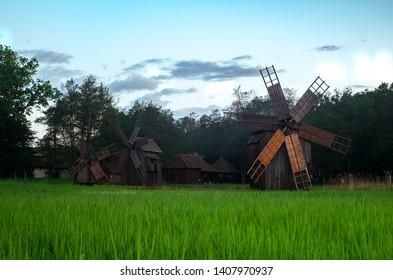 Landscape with wind mills in Dumbrava lake, Astra Museum of Traditional Folk Civilization, Sibiu city, Romania