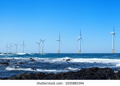 Landscape of wind power station over the sea