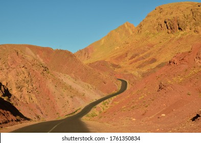 landscape of winding road in the high atlas in morocco