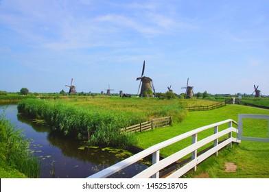 The landscape of windmill at Kinderdijk (Netherlands)