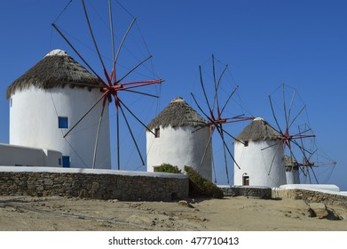 Landscape with windmills and blue sky in the Greek island of Myconos II