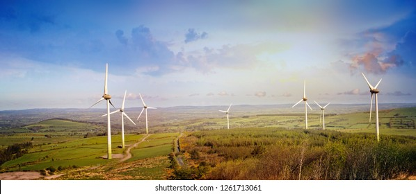 Landscape with windmills in a county Cork. Boggeragh Mountains, Ireland.