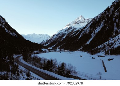 Landscape of the winter Pitztal valley in Austrian Alps