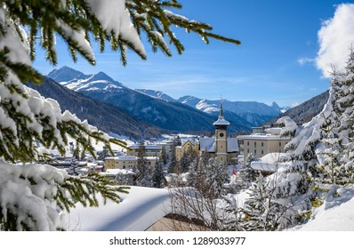 Landscape of winter resort Davos - the home of annual  World Economic  Forum.